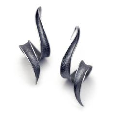 Anticlastic Earrings in Sterling silver - Soft Black Bolts. Etsy. Revonav