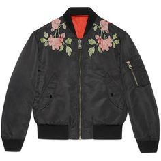Gucci Reversible Nylon And Silk Bomber Jacket ($2,940) via Polyvore featuring men's fashion, men's clothing, men's outerwear, men's jackets, jackets, leather & casual jackets, men, ready-to-wear, mens flight jacket and mens blouson jacket