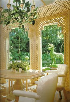 The Garden Room designed by Michael Taylor at the Auberge du Soleil resort in Napa Valley, 1972