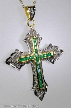 $2,600 Victorian 3.30ctw Rose Cut Diamond & Muzo Emerald Cross Pendant 8g