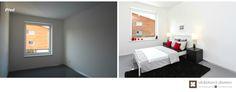 Home Staging nezařízeného rodinného domu v Praze #praha #prague #czech #homestaging #pred #po #before #after #white #walls #novostavba #bedroom #black #red #gray #ikea #cz