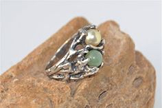 Silver Branch Ring  Simulated Pearl and Jadeite Stones  Twig