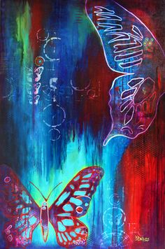 GICLEE PRINT on CANVAS, Abstract Acrylic Painting, Butterflies, Spirit, Peace, Blue, Red, Purple, Turquoise, Multiple Sizes, Modern