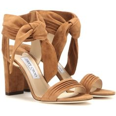 b09c95f6c2e0 Jimmy Choo Kora 85 Suede Sandals (16.670 CZK) ❤ liked on Polyvore featuring  shoes