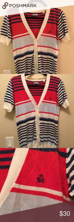 Striped Nautical Ben Sherman Cardigan Great sweater for that nautical look! Slight pilling and tiny spot on sleeve as pictured Ben Sherman Sweaters Cardigans