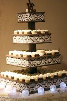 frugal wedding ideas Gorgeous DIY Cupcake Stand: Wedding Cupcake Stand with drilled holes for the cake cup bottoms?