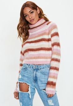 2131445053 Pink Roll Neck Brushed Stripe Cropped Sweater