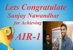 | Congratulations Sanjay Nawandhar for Achieving AIR 1 |  Stay Connected :   http://www.gaapbright.com/