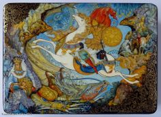"""Koshchey The Immortal"" - box, Palekh lacquer painting technique. Materials: papier-mâché, egg tempera, gold leaf, lacquer  Artists: Chibisova Veronika and Chibisov Roman. $1755.00 http://www.russianfineart.co/catalog/prod.php?productid=20220"