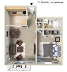 1 BEDROOM|1 BATHROOM|650 SQ. FT.