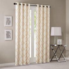 Home Essence Sereno Fretwork Print Window Curtain, Gold