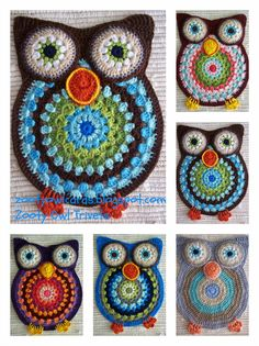 crochet owl ~ free pattern ᛡ with thick yarn and the solid would make a cute rug Owl Crochet Pattern Free, Crochet Owls, Crochet Potholders, Crochet Motif, Crochet Crafts, Yarn Crafts, Crochet Projects, Free Crochet, Knit Crochet
