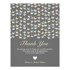 Hanging Origami Paper Cranes (Pewter) Thank You 4.25×5.5 Paper Invitation Card