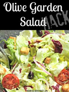 Olive Garden Salad Hack - Redhead Can Decorate Salada Do Olive Garden, Olive Garden Salad, Olive Garden Recipes, Olive Salad, Olive Garden Food, Olive Garden Dressing, Olive Garden Soups, Olive Recipes, Healthy Recipes