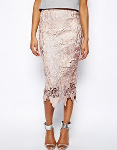 Lace Pencil Skirt With Scalloped Hem
