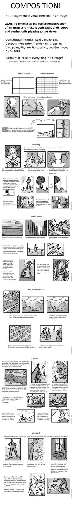 Composition by Kali Ciesemier. Read, draw two quick pics one w/good composition one bad, pass to neighbor, must identify which is good and bad and explain why. Prize for most creative composition and best explanation. Drawing Lessons, Drawing Techniques, Drawing Tutorials, Art Tutorials, Art Lessons, Drawing Tips, Painting Tutorials, Storyboard, Comic Sketch