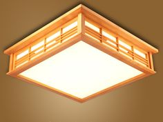 Japanese Ceiling Lights LED Square 45-55cm Washitsu Decor Shoji Lamp Wood and Paper Living Room Indoor lantern LED Lamp Lighting