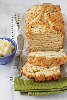 Buttery Honey Beer Bread. It's soft and slightly chewy on the inside but has this awesome crunchy crust on the outside. It's super fast – it only takes 5 minutes to get the batter in the oven - another hubby treat.