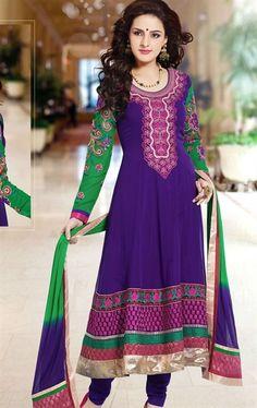 Picture of Indian Ethnic Purple Color Designer Churidar Kameez