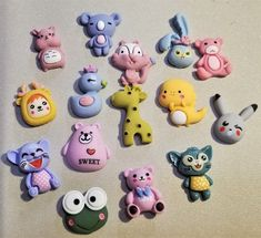 M-164; Cute Colorful Figurines of Assorted Characters- Each Approx. and Inch Tall First Flat, One Inch, Upcycled Crafts, Craft Items, Pearl White, Hello Kitty, Owl, Bunny, Characters