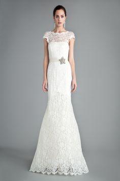 Bridal Gowns: Temperley Sheath Wedding Dress with Jewel Neckline and Natural Waist Waistline - Kleinfelds