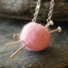 @Lois Kindley (wishing it wasn't pink!) Silver Knitting Necklace  Pink Felted Necklace by FioreJewellery, €18.00