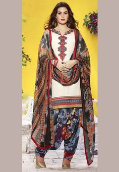 Off White Cotton Kameez with #Patiala