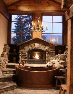 Rustic bathroom w/ Chandelier, Copper tub & Fireplace <3