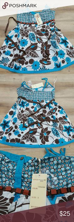 TURQUOISE  & WHITE FLORAL CAMISOLE Brand New WITH TAGS size juniors small aryeh Tops Camisoles