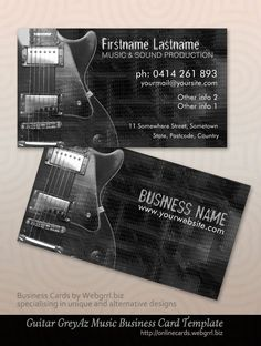 Modern guitar music business card grey az electric guitar music business cards by onlinecards designs by webgrrl template fbccfo Gallery