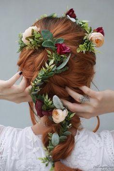 Emilia Hair Garland Hair Garland, Pull Through Braid, Fairy Princesses, Floral Garland, Floral Headpiece, Floral Hair, French Braid, Dusty Rose, Pretty Flowers