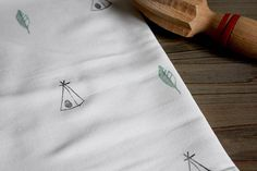 Feathers and Teepees tea Towel by FAROstore. Printed Textiles. Kitchen