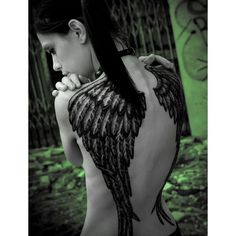Pretty Girl with Angel Wings Tattoo ❤ liked on Polyvore featuring accessories, body art, tattoos, tatoos, tattoos and piercings, beauty, makeup and filler