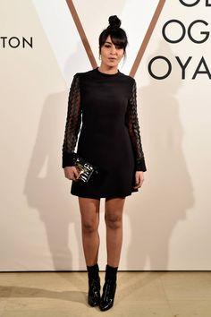 12.03.15  Leïla Bakhtin, in Vuitton A/H15 (Look 38), au vernissage de l'exposition Volez, voguez, voyagez