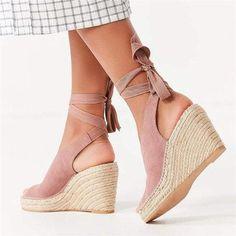 d1a45ea71 Espadrille Ankle Tie Sandals Peep Toe Wedge Sandals - ZUCHIC Peep Toe Wedges,  Wedge Sandals