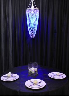 Crystal Twisted Chandelier w/ Diamond-Cut Acrylic Crystal Beads, Chandeliers, Event Decor Direct