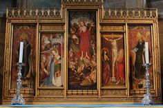 Saviour's Chapel reredos, made with panels from old rood screens. Norwich Cathedral, Medieval Paintings, Iglesias, Cathedrals, Screens, British, History, Portrait, Architecture