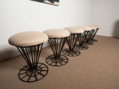 Six Iron Swivel Stools By Frederic Weinberg   From a unique collection of antique and modern stools at http://www.1stdibs.com/furniture/seating/stools/