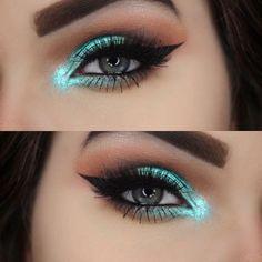 turquoise eye makeup #makeup #turquoise #gorgeouseyemakeup