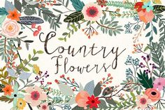 Sage + teal + peach. (Country Flowers by Mia Charro on @creativemarket)