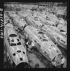 Boeing aircraft plane, Seattle, Washington. Production of B-17F (Flying Fortress) bombing planes. Fuselage section