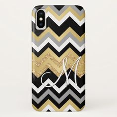 Custom Monogram Gold Glitter Bling Chevron Pattern iPhone X Case - faux gifts style sample design cyo