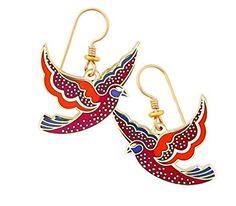 LAUREL BURCH Kris cloisonné drop earrings in gold from Studio Totemic™