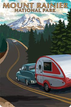 Vintage Mount Rainer National Park Travel Decal Washington
