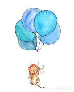Lion Balloons -- 8x10 Archival Print -- Children's Art. $20.00, via Etsy.