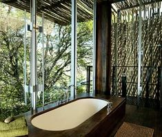Singita Sweni, Kruger National Park, South Africa  The Shower: A sliding-glass door is the only design element that separates the indoor bathtub and outdoor shower. The shower space is also entirely open to the wild—an ideal vantage point from which to observe the baboons and birds in the trees below, as well as elephants, waterbucks, and crocodiles in the river.
