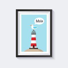 A4 Poster Kinderzimmer Poster maritim, Poster Illustration Kids, Poster Leuchtturm, Poster nautical, Kinderzimmer Wandgestaltung, Poster Möwe, Illustration Leuchtturm, Vektorgrafik