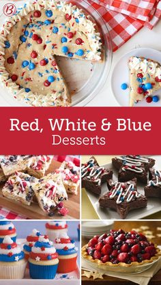 These red, white and blue desserts are tried and true, and perfect for your Fourth of July party too! Blue Desserts, Patriotic Desserts, 4th Of July Desserts, Fourth Of July Food, 4th Of July Party, Holiday Desserts, Holiday Treats, Holiday Recipes, July 4th