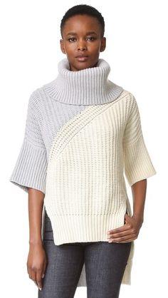 Derek Lam Bicolor Turtleneck Drop Shoulder Sweater