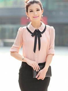 Elegant Bowtie Turn-Down Collar Long Sleeve Slim T-shirt Pink on DressLuck.com